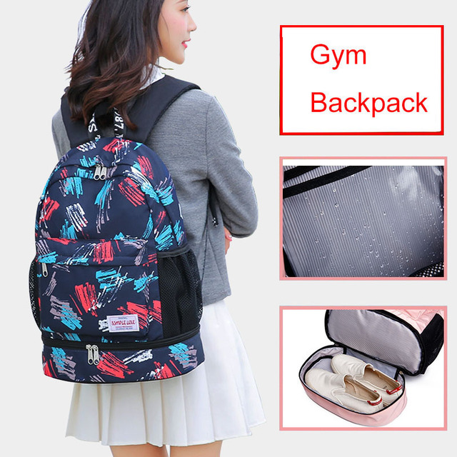 Women Gym Backpack Flower Fitness Bag Sac De Sport Bags Dry And Wet Independent Shoes Bags Female Bolsa Deporte Gymtas XA906WA