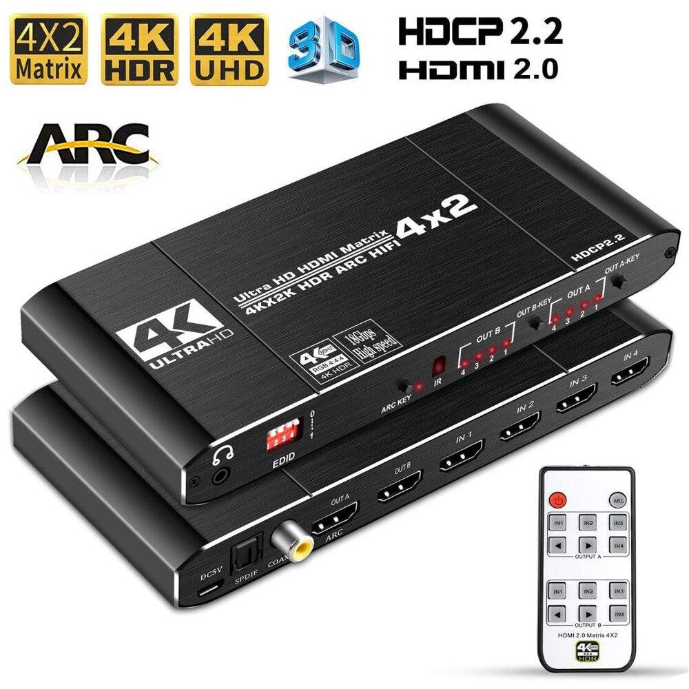 4X2 HDMI Matrix 4K 60Hz HDMI Martrix avec toslink audio ARC HDMI 4X2 matrice commutateur répartiteur HDMI 4 en 2
