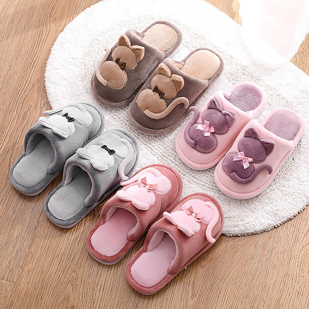 Toddler Infant Kids Shoes Cartoon Cat Warm Non-slip Floor Home Slippers Indoor Shoes Baby Boy Girls Winter Spring Warm Shoes