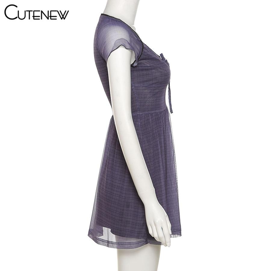 Short Sleeve Women Mini Clothes Dress Lattice Pattern A-Line Summer Casual - dresses