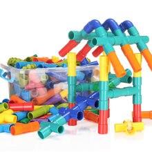 Diy tubulação de água blocos de construção brinquedos esclarecedores tubulação túnel construção brinquedos educativos aprendizagem para crianças tijolo