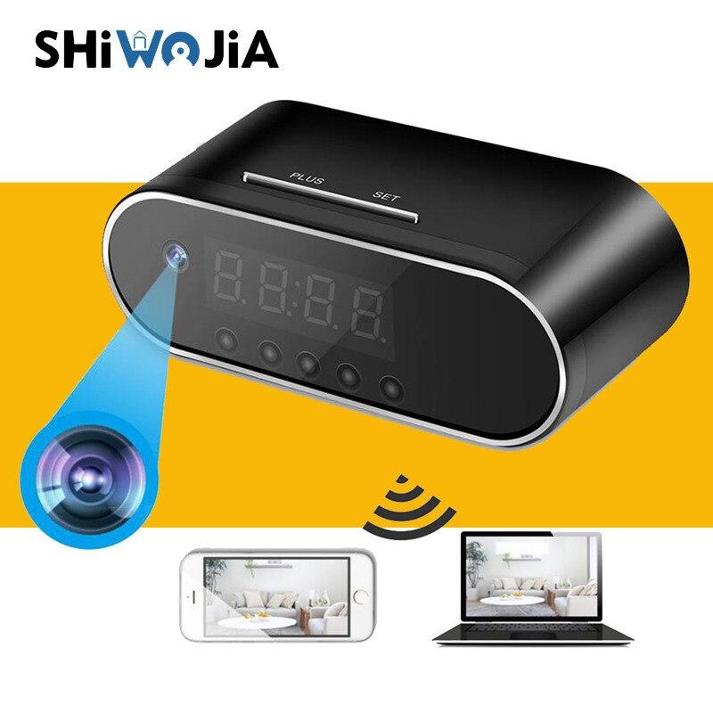 SHIWOJIA New 1080P HD Clock Hidden Camera WIFI Control Concealed IR Night View Alarm Low Power Camcorder Digital Video Mini DVR