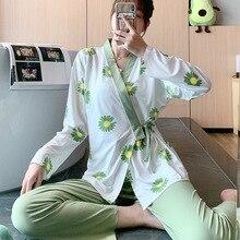Kimono Sleepwear Pajama-Set Trousers Two-Piece-Set V-Neck Cartoon Home