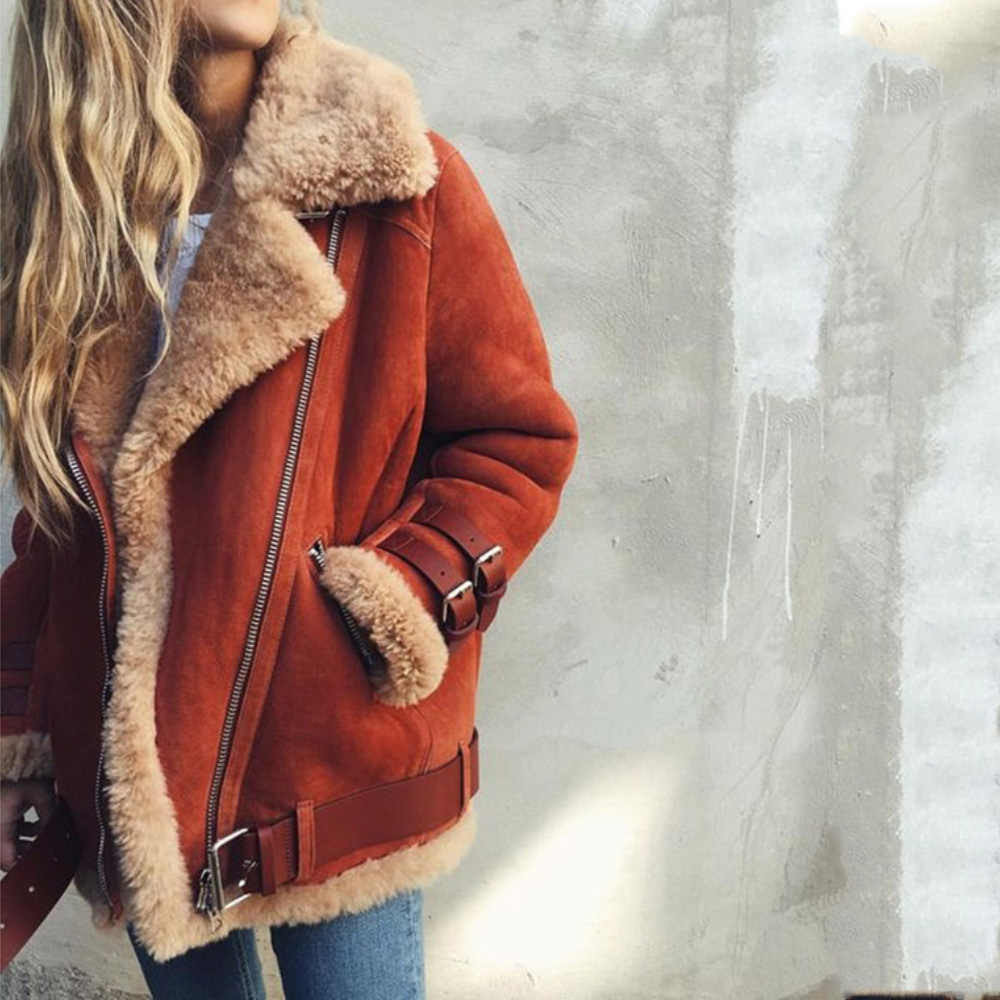 Wipalo 2019 S-5XL Plus Size Women Autumn Winter Lambs Wool Liner Coat Solid Leather Jacket Fur Tops Locomotive Warm Zipper Coat