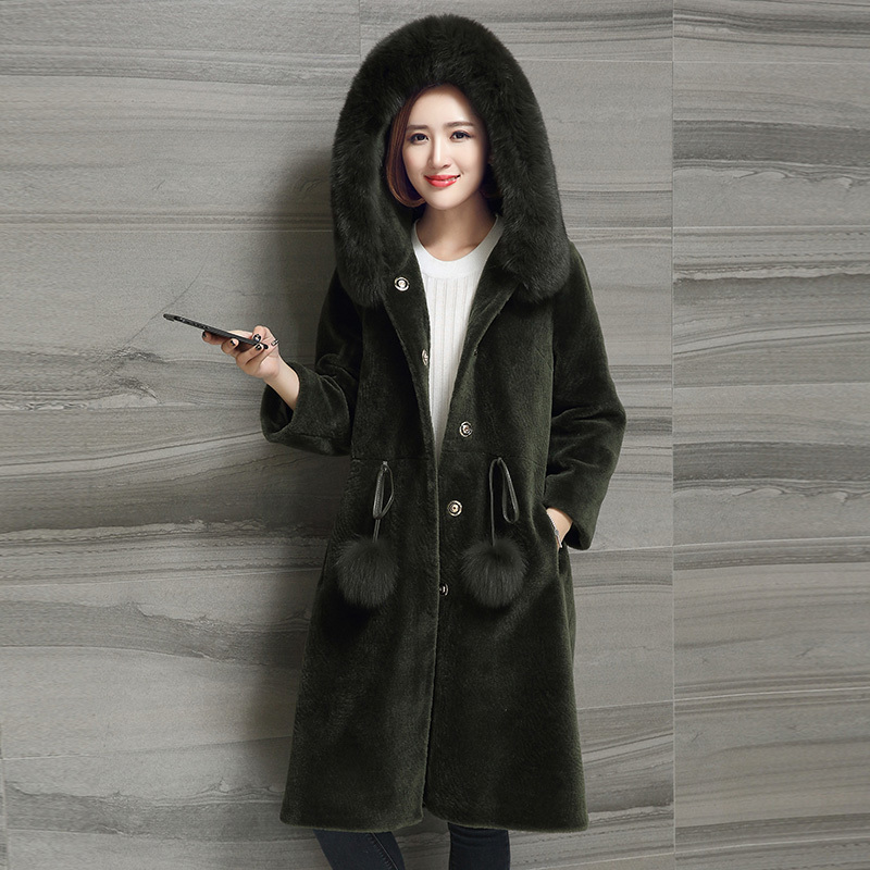 Sheep Natural Shearing Real Fur Coat Hooded With Fox Fur Collar Winter Long Wool Overcoat Female Jacket Clothing OS16040