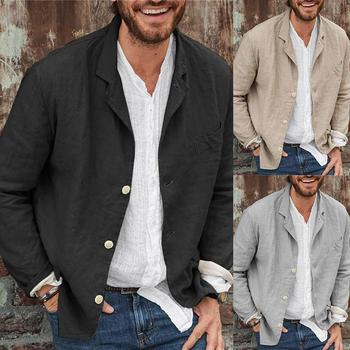 Men Autumn Casual Solid Color Long Sleeve Single-breasted Blazer Coat Jacket Wedding Dress Coat Casual Business Male Suit Coat