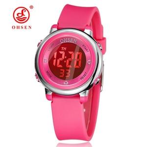 Ohsen детские часы, детские цифровые светодиодные модные спортивные часы, милые наручные часы для мальчиков и девочек, водонепроницаемые пода...