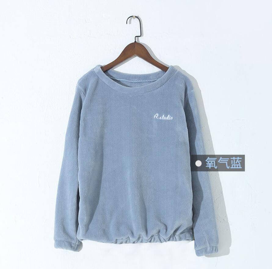 Зимние фланелевые длинные штаны для сна; Толстая Теплая Повседневная Домашняя одежда; повседневные пижамные брюки; мягкие свободные брюки; одежда для сна - Цвет: Tops-Blue