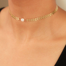 Simple Geometric Choker Chain Necklace Charms Women Exquisite Pearl Pendant Clavicle Short Jewelry
