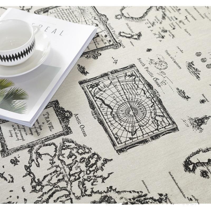 100*150cm World Map Cotton And Linen Printed Fabric Tablecloth Hug Pillowcase Curtain Sofa Cover Accessories Handmade Bag Fabric