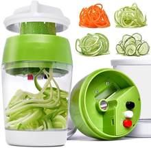 5 in1 Handheld Spiralizer Vegetable Slicer Adjustable Spiral Cutter with Container Zucchini Noodle Spaghetti Maker Spiral Slicer