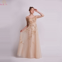 2019 Champagne Luxury Beaded A-Line Prom Dresses Three quarter Sleeves Sequined Formal Party Long Gowns Elegant robe gala