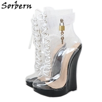 Sorbern Transparent Women Boots With Locks Wedge High Heels Short Boots For Lady Boy Shoes Platform Size 5 15 Custom Colors