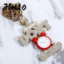 JINAO-collar con colgante de reloj de monitorización de sueño, cadena de circonia cúbica de alta calidad, Hip Hop, regalo, nuevo