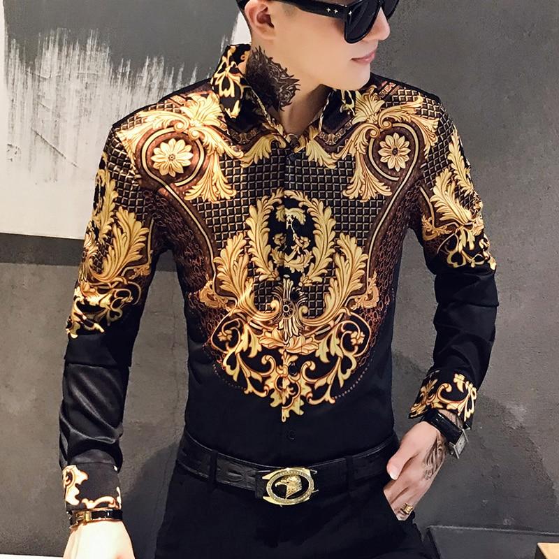 Paisley Black Gold Men Shirt Luxury Korean Mens Long Sleeve Print Shirts Men Slim Fit Casual Blouse Homme Baroque Banquet Shirt