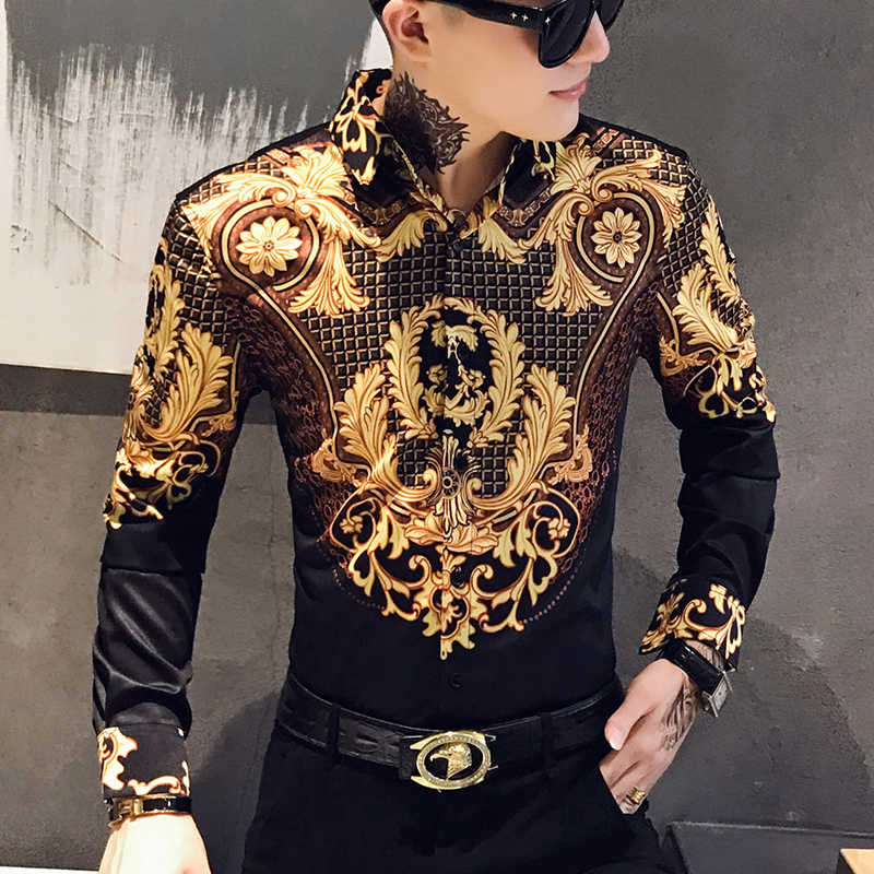 Paisley Schwarz Gold Männer Hemd Luxus Koreanische Mens Langarm Print Shirts Männer Slim Fit Casual Bluse Homme Barock Bankett hemd