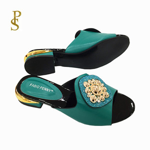 Image 1 - African style womens shoes slippers with metal trim and rhinestones for ladies