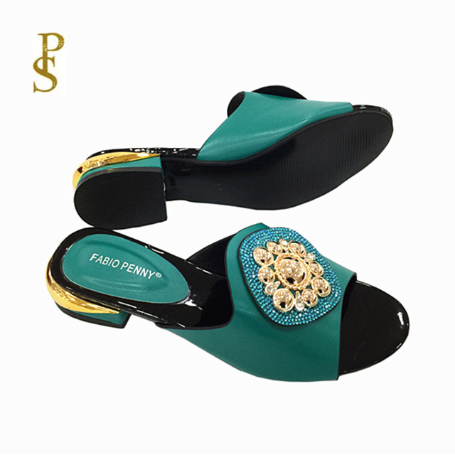 African style womens shoes slippers with metal trim and rhinestones for ladies