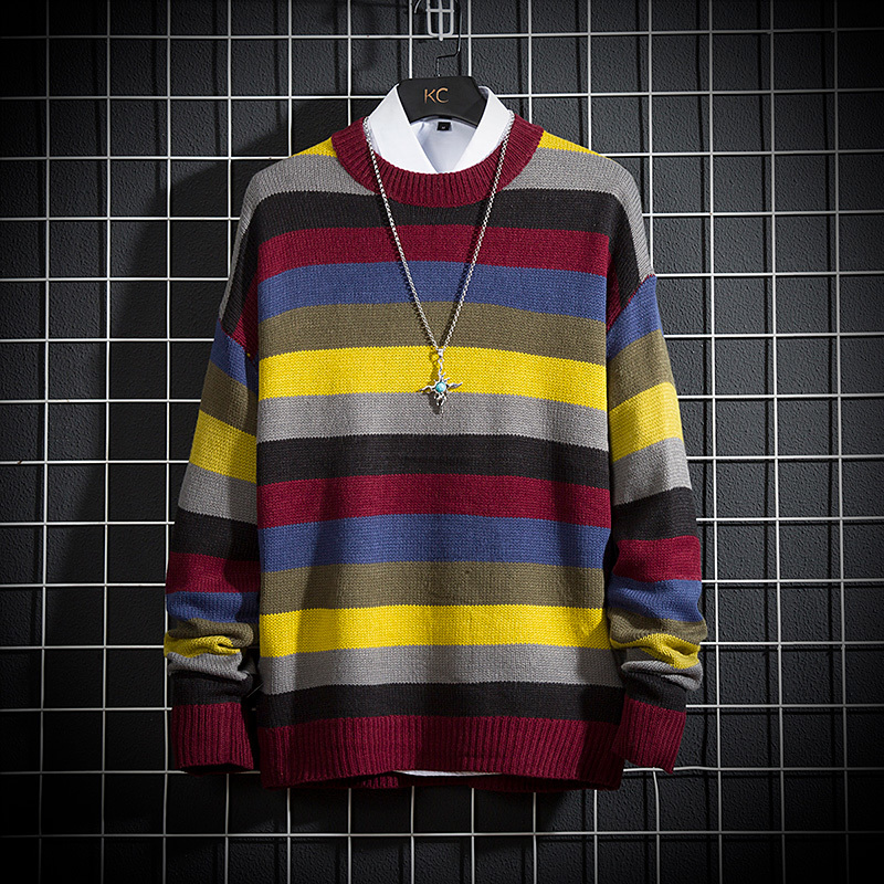 Winter Striped Sweater Men's Warm Fashion Contrast Color O-neck Knit Pullover Man Wild Hit Color Loose Large Size Sweater M-5XL