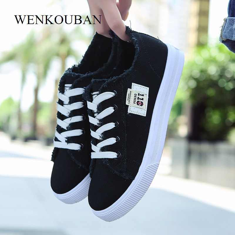 Kanvas Sepatu Wanita Sneakers Lace-up Musim Dingin Sneakers untuk wanita Fashion Denim Kasual Sepatu Putih Pelatih Zapatos Mujer