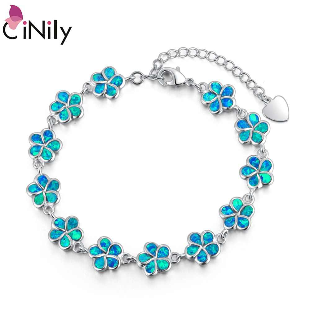 CiNily White & Blue Fire Opal Stone Wide Chain Bracelets Silver Plated Violet Cherry Blossom Flower Bohemia BOHO Jewelry Woman