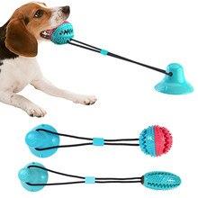 Animais de estimação brinquedos do cão sucção copo de borracha cão mastigar brinquedo do animal de estimação bola tug empurrar bola brinquedo pet escova de dentes limpeza do dente filhote de cachorro grande cão mordendo
