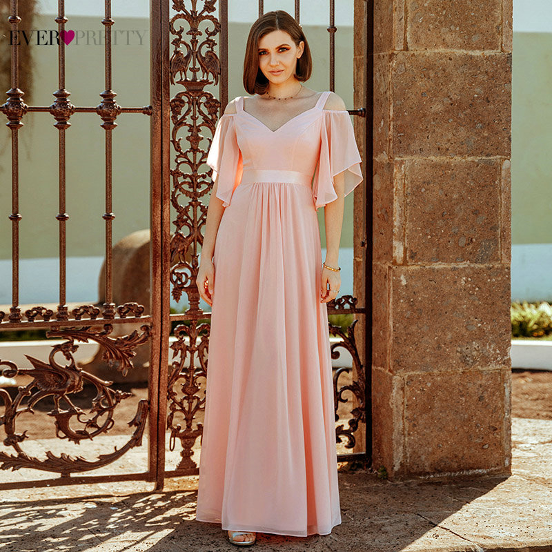 Vestido Madrinha Ever Pretty Pink Bridesmaid Dresses Off The Shoulder V-Neck Elegant Wedding Party Dresses Sukienka Wesele 2020