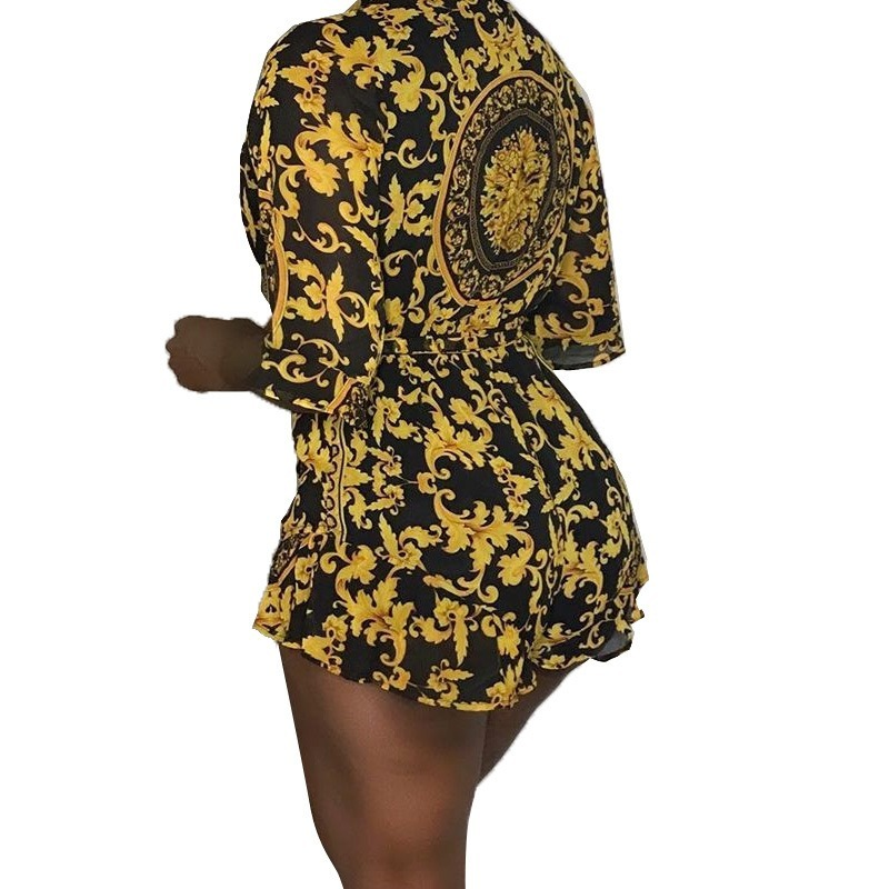 Baroque Print Half Sleeve Casual Rompers Women Jumpsuits One Piece Overalls Streetwear