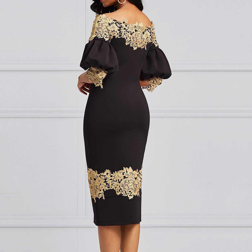 Элегантное вечернее платье с открытыми плечами для женщин, облегающее, цветочное, кружевное, из кусков, черное, миди, офисные платья, 2XL, африканская Роба, винтажное