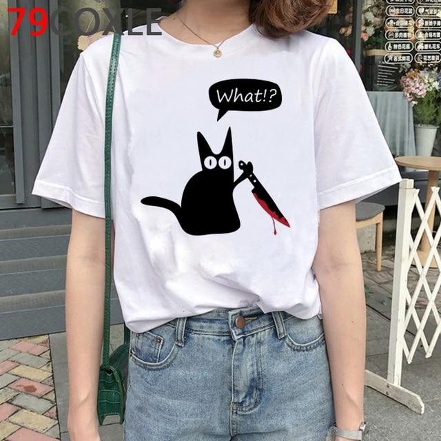 Cat with Knife T Shirt Women Kawaii Funnycartoon T-shirt Cat What Murderous Cat Kawaii Graphic T Shirts Plus Size Unisex Female 2