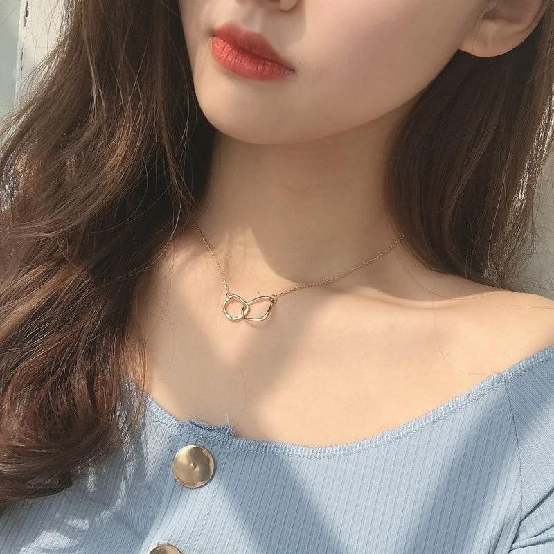 2020 nova venda quente colares moda anel duplo bloqueio pingente clavícula corrente colar para presente feminino jóias