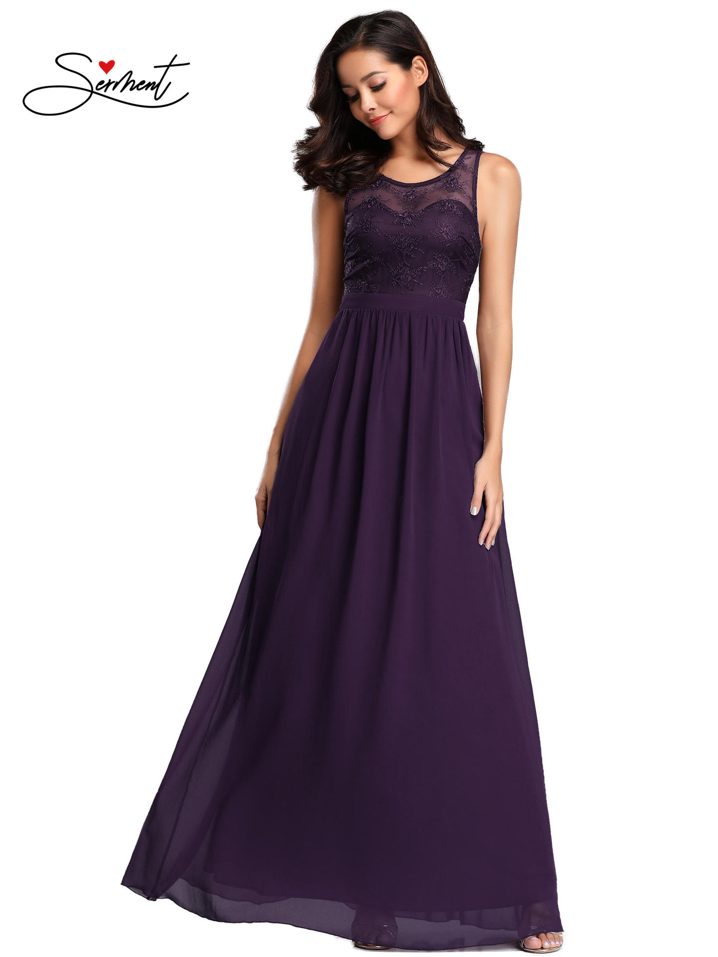 OLLYMURS New Elegant Woman Evening Gown Purple Chiffon Elegant Sleeveless Evening Dress Suitable for Formal Parties