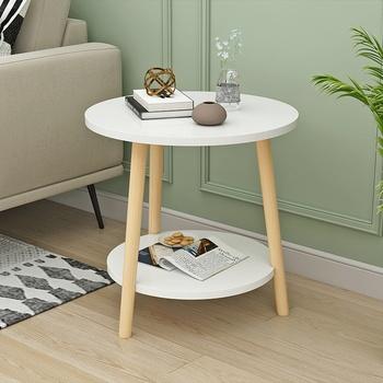 Prostota w stylu nordyckim salon mały stolik kawowy prosty nowoczesny stolik sofa Mini podwójny stół narożny stolik do sypialni tanie i dobre opinie CN (pochodzenie) Montaż stolik do kawy meble do domu meble do salonu China rustykalne Wood - based panel