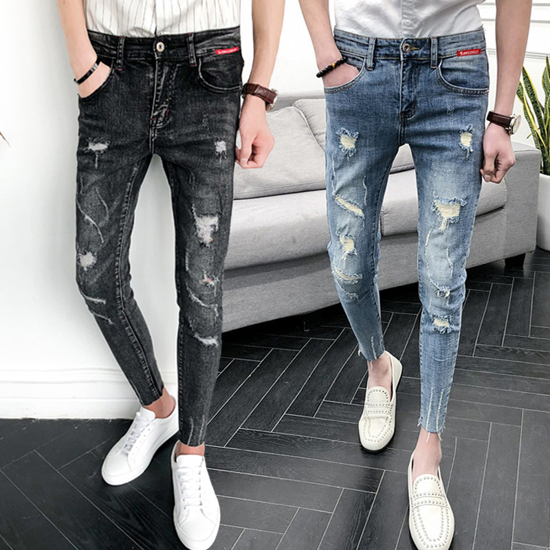 Wholesale 2020 Fashion Denim Dark Grey Streetwear Students Skinny Jeans Hombre Stretch Distressed Hole Jeans Male Pencil Pants