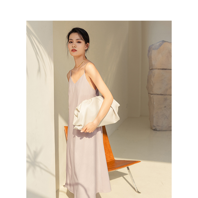 INMAN 2020 printemps nouveauté bureau élégant Style femmes col en V une ligne fronde sans manches femmes mi-mollet robe