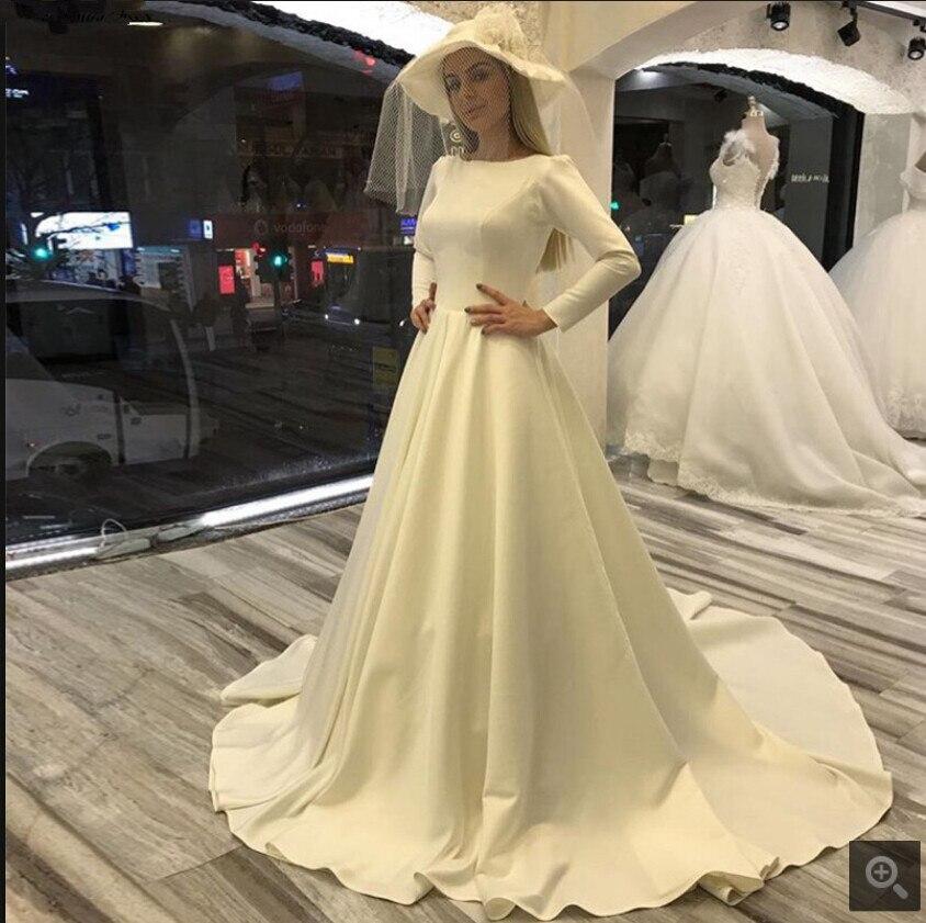 2019 Modest Long Sleeve Ball Gown Wedding Dresses Scoop Neckline Court Train Elegant Muslim Women Bride Gowns Best Selling