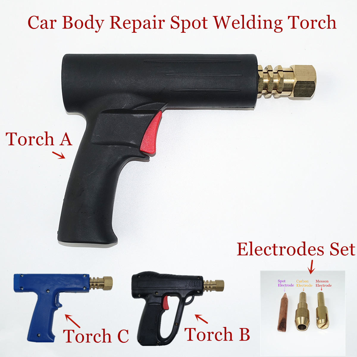Car Body Repair Gun Dent Pulling Torch Washer Wavy Wire Carbon Garage Sheet Metal Repair Spot Welding Torch
