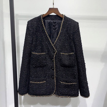 Chic women's Gold Chain tweed coat 2020 Spring Brand new high quality V-neck bla