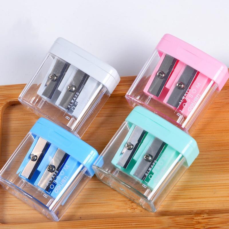 1pc Deli Color Pencil Sharpener Student Pencil Sharpener Mini Double Hole Pencil Sharpener Student Stationery