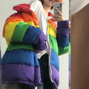 Женская зимняя повседневная куртка в стиле Харадзюку, Женская Радужная парка, свободное Полосатое пальто, женская куртка