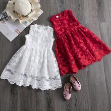 Koronkowe sukienki dla dziewczynek kwiatowe kwiatki czerwone ubrania dla dziewczynek koronkowe sukienki dla dziewczynek na co dzień na 3-8 lat świąteczne sukienki dla dziewczynek tanie tanio NNJXD Poliester Wiskoza CN (pochodzenie) Kolan O-neck Dziewczyny REGULAR Bez rękawów Śliczne Pasuje prawda na wymiar weź swój normalny rozmiar