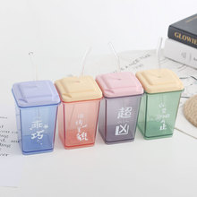 Water cup simple square transparent anti-fall plastic cup sports fitness cup male and female students portable summer water cup transparent pc plastic cup with tea compartment simple and fresh male and female students portable water cup high temperature