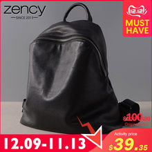 Zency Cowhide 100% Genuine Leather Black Women Backpack Vintage Travel Bags Notebook Schoolbag For Girls Daily Holiday Knapsack(China)