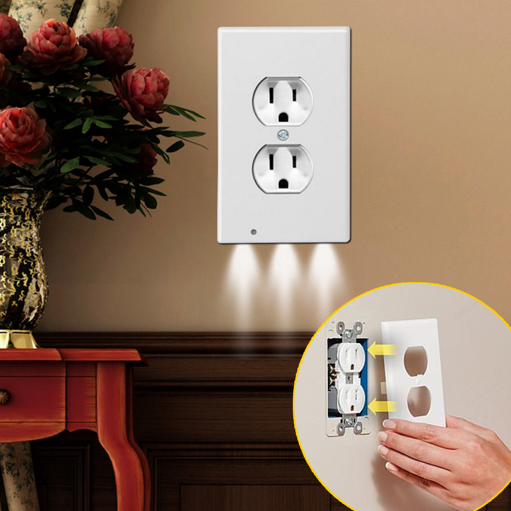 Intelligent Auto Switch Socket Us Wall Electric Socket LED Light Sensor Socket Wall Outlet Charger Plate