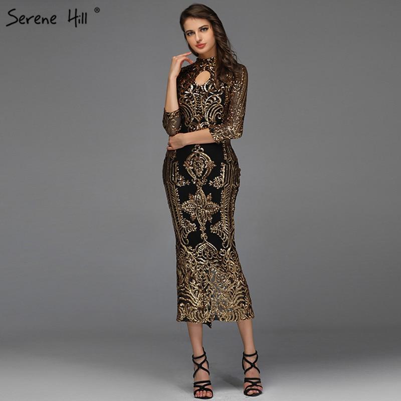 Black High Collar Sequined Cocktail Dresses Design 2019 Mermaid Sparkle Tea-Length Cocktail Dress Serene Hill QA8043