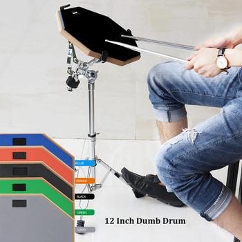 12 Cal gumowy drewniany głupi bęben treningowy bęben treningowy z podstawką kijem opcjonalnie do części instrumentów perkusyjnych tanie i dobre opinie Other 12 Inch 12-16 cal