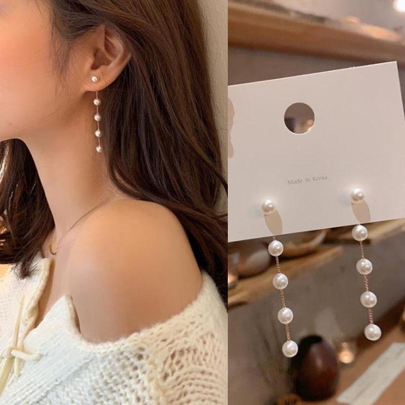 Женские длинные серьги с имитацией жемчуга, свадебные серьги с Белым Круглым жемчугом, корейская бижутерия, 2021
