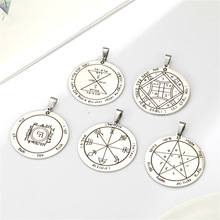 Teamer Key of Solomon Pendant for Necklace Stainless Steel Vintage Jewelry Amulet Supernatural Moon Saturn Jupiter Sun Venus