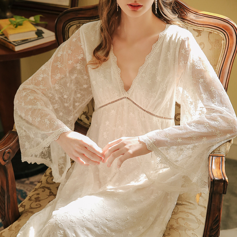 2020 Sexy Victorian Sleep Wear Night Dress Vintage Nightgown Long Sleeve Nightdress White Lace Sleepwear Women Nightshirt