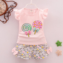 Suit Clothing-Sets Outfits Vest Floral Two-Pieces Girls Casual Cotton Summer Sleeveless